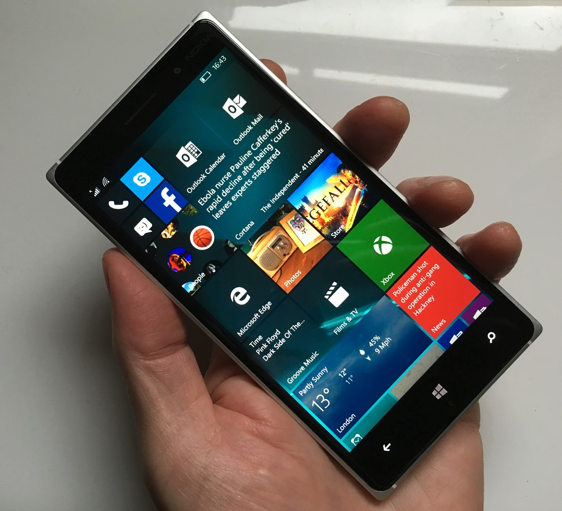 The test Lumia 830 on the new build