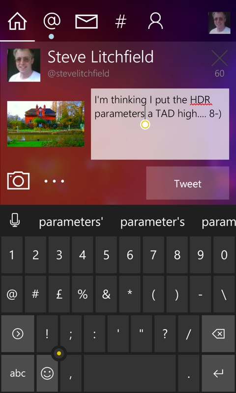 Screenshot, Windows 10 Mobile Pointer