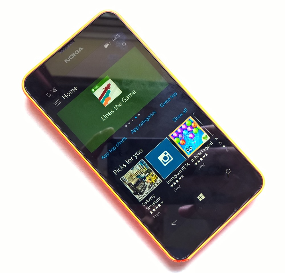 Lumia 630 running Windows 10 Mobile