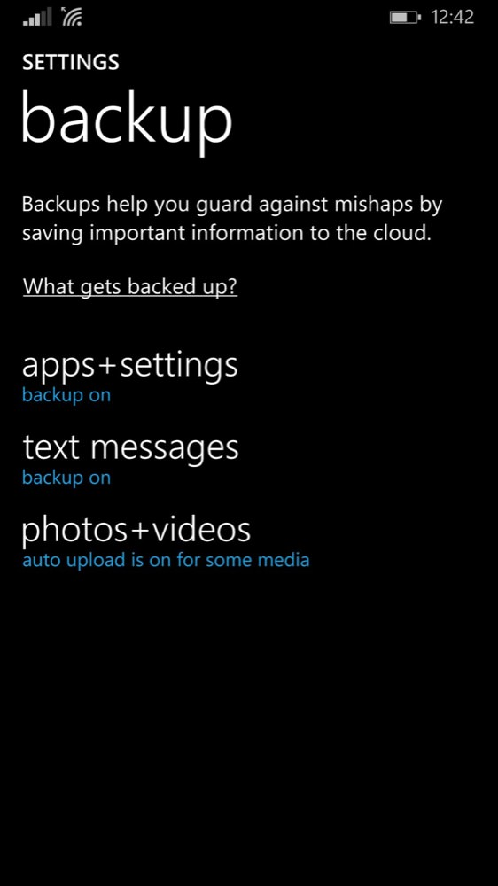 screenshot managing backups screenshot