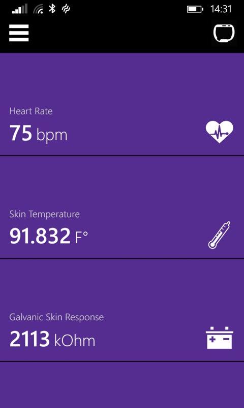 Screenshot, Microsoft Band apps
