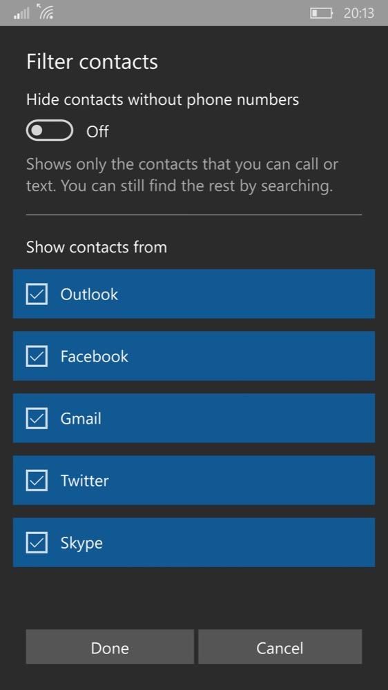 Screenshot, Windows 10 Mobile People
