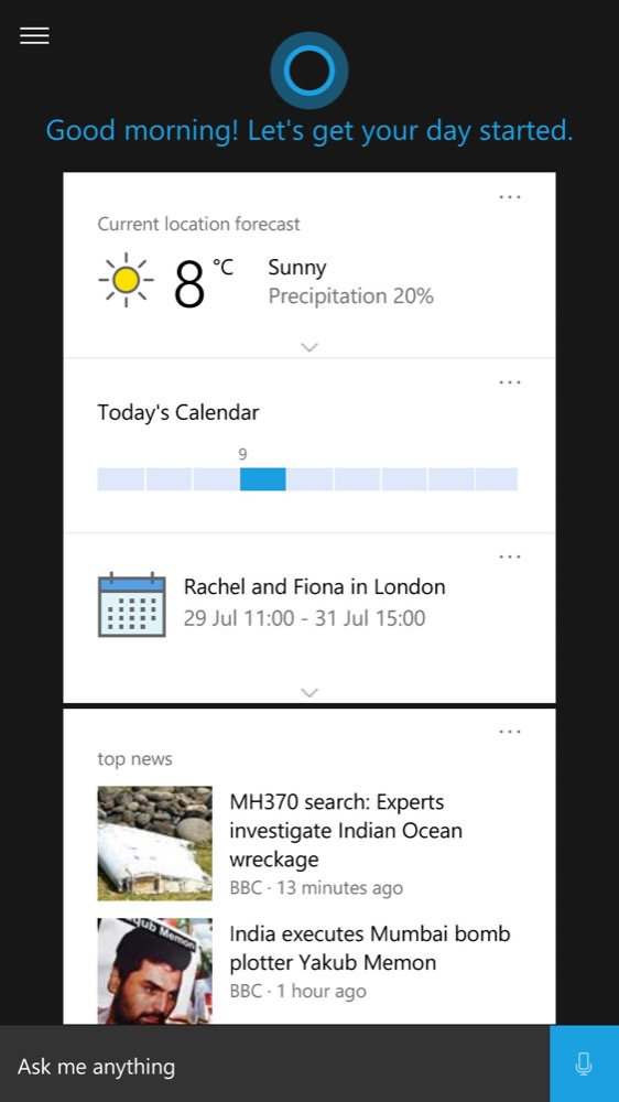 Screenshot, Windows 10 Mobile, end July
