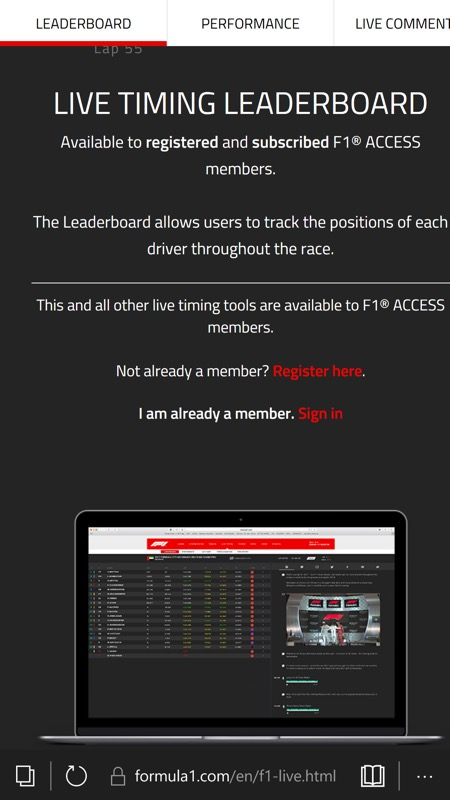 Screenshot, F1 web site