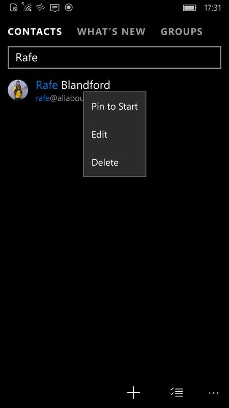 Screenshot, long press menu on Windows 10 Mobile...