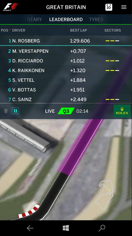 Formula 1 app screenshot
