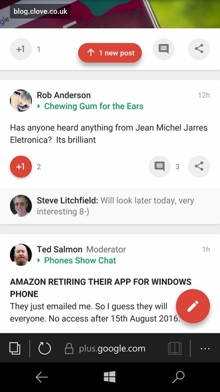 Screenshot, Google+ on Windows 10 Mobile