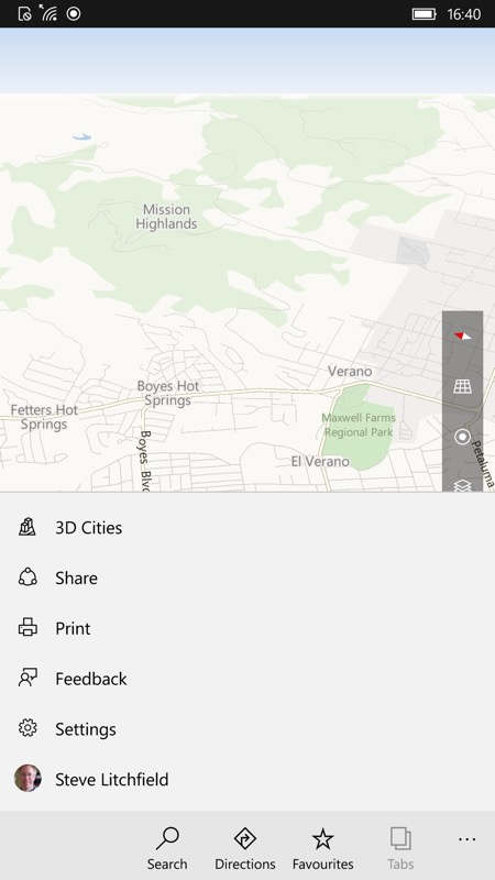 Screenshot, HERE Maps to Windows 10 Maps tutorial