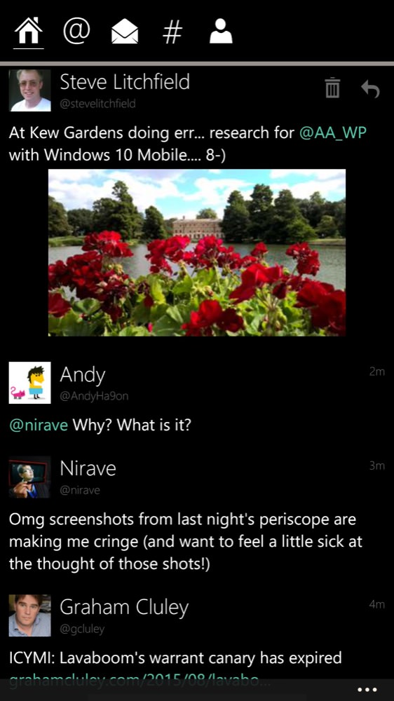 Screenshot, Windows 10 Mobile mid August 2015