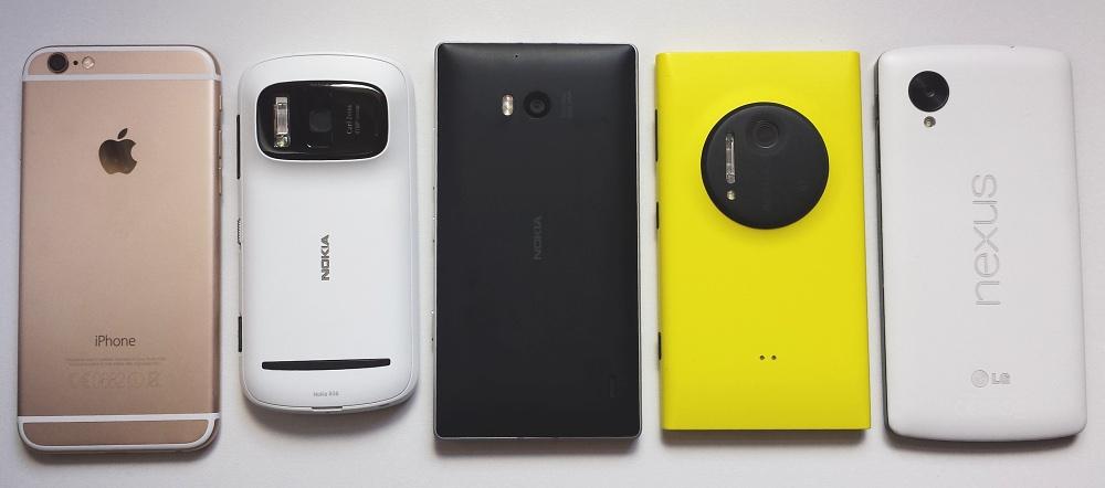 iPhone 6, Nokia 808, Lumia 930, Lumia 1020, Nexus 5