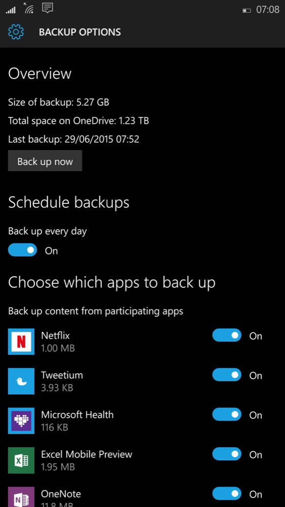 Screenshot, Windows 10 Mobile Backups