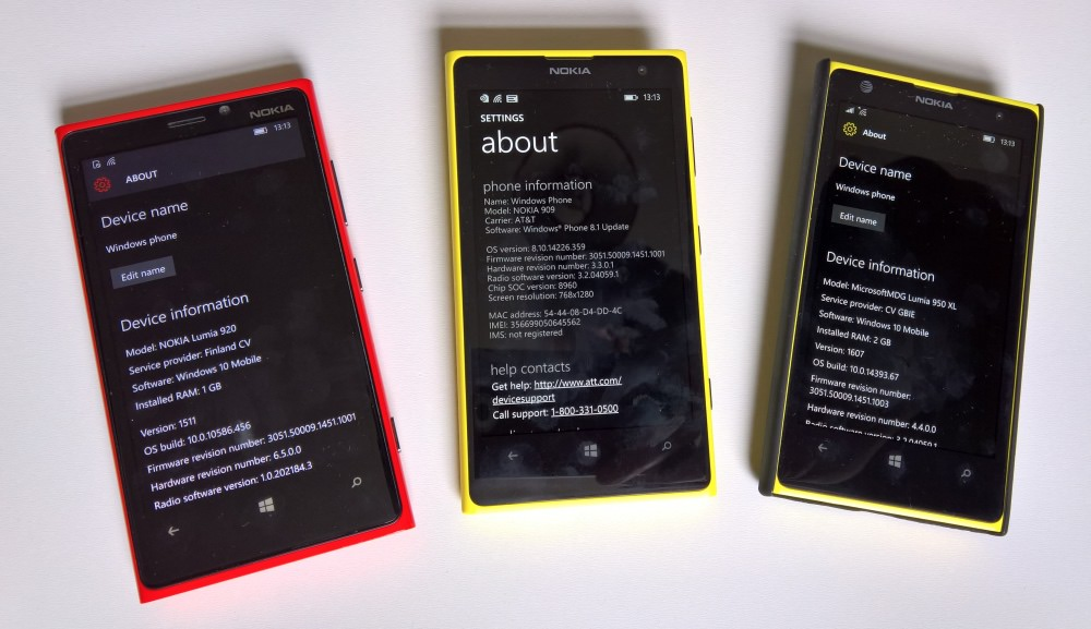 3 S4-based phones, Lumia 920 and 1020s