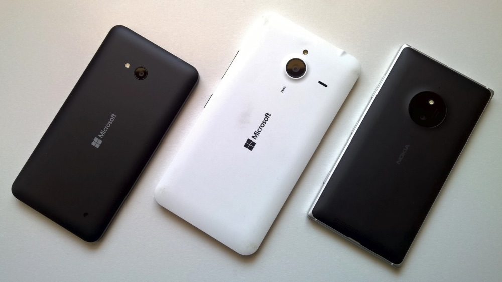 From left to right, Lumia 640, Lumia 640 XL, Lumia 830