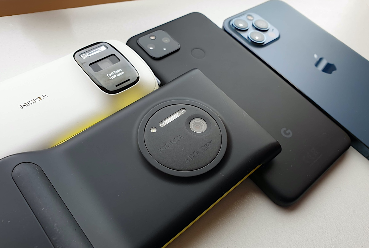 Nokia 808 PureView, Lumia 1020 (in camera grip case), Pixel 4a 5G, iPhone 12 Pro Max