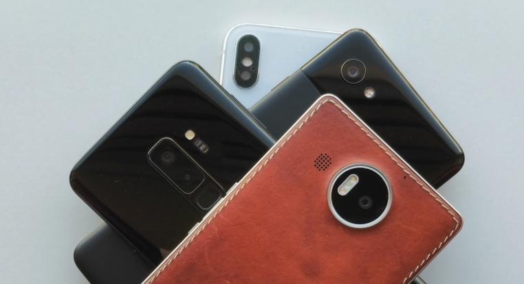 Pixel 2 XL, iPhone XS Max, Lumia 950 XL, Galaxy S9+