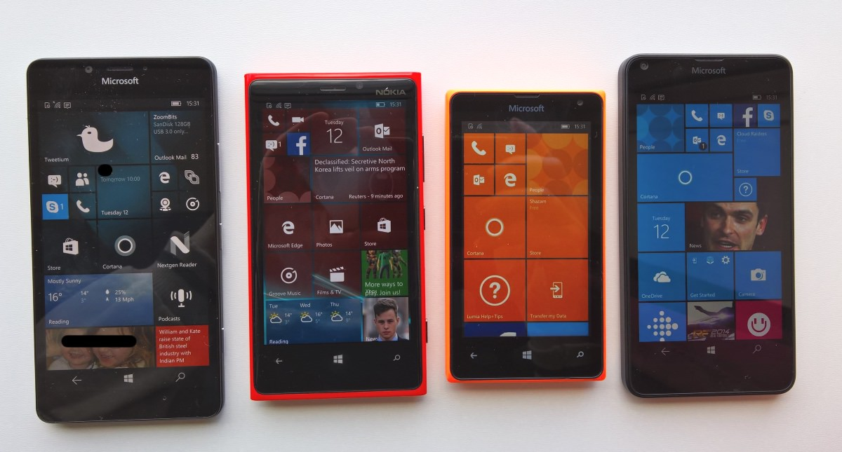 From left to right, Lumia 950, 920, 435 and 640