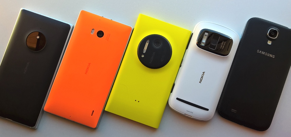 From left to right, Lumia 830, 930, 1020, 808 PureView, Galaxy S4