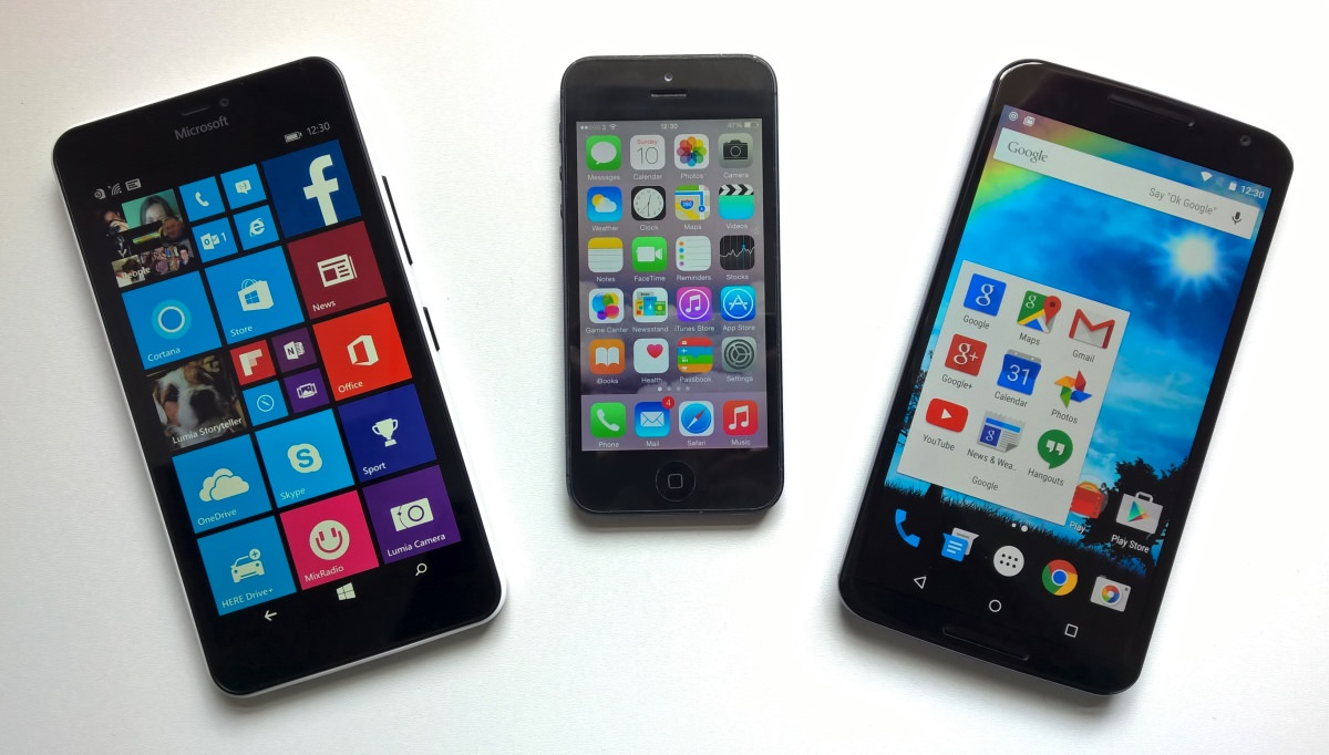 Lumia 640 XL, iPhone 5 and Nexus 6
