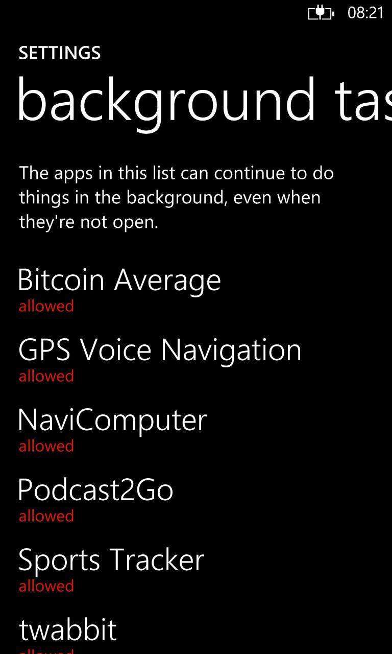 Screenshot, Windows Phone 8.1 background feature