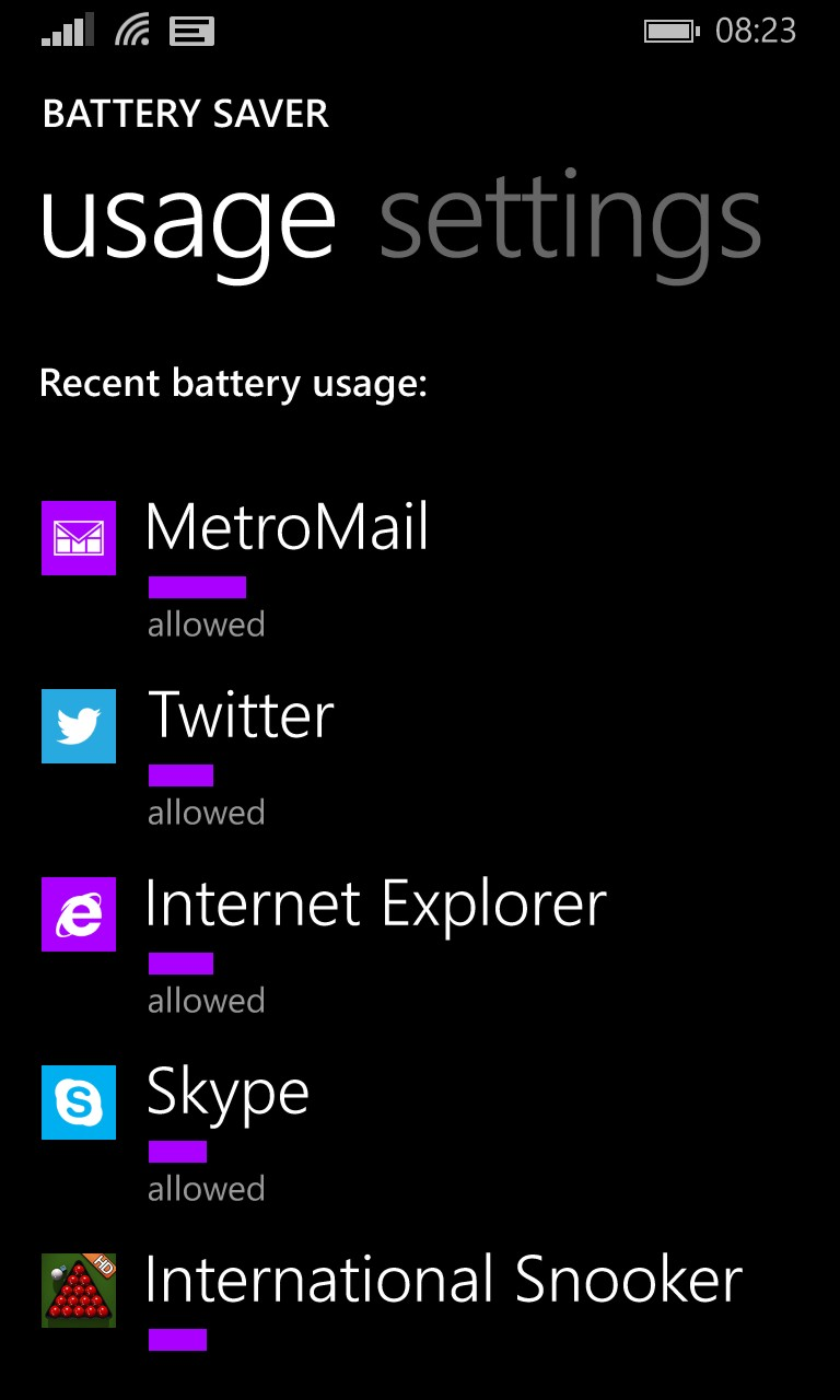 Screenshot, Windows Phone 8.1 background feature