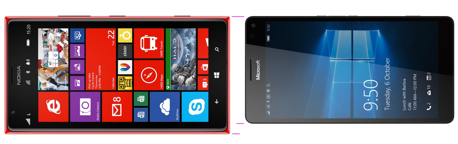 Lumia 1520 vs 950 XL, to scale
