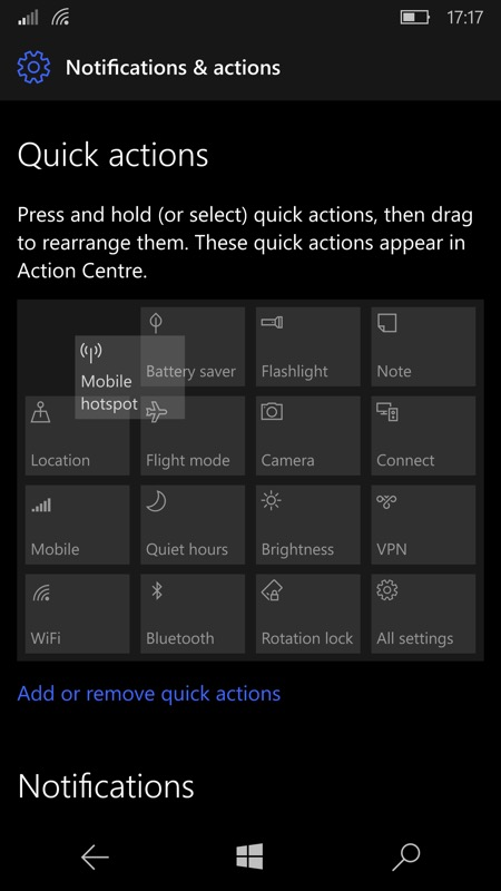 Customising Action Center buttons