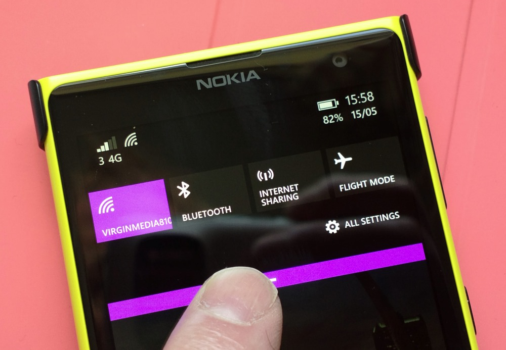 Lumia 1020 running the Developer Preview update
