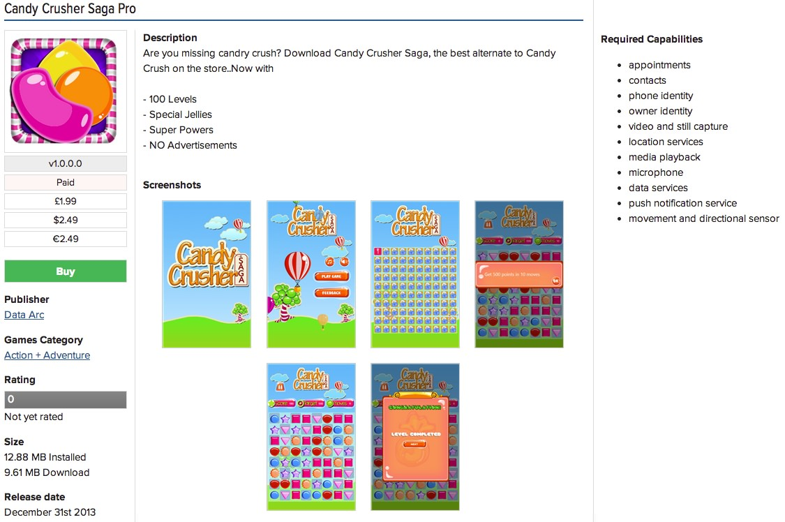 Candy Crush clone listing