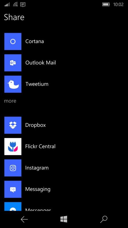 Share to Cortana