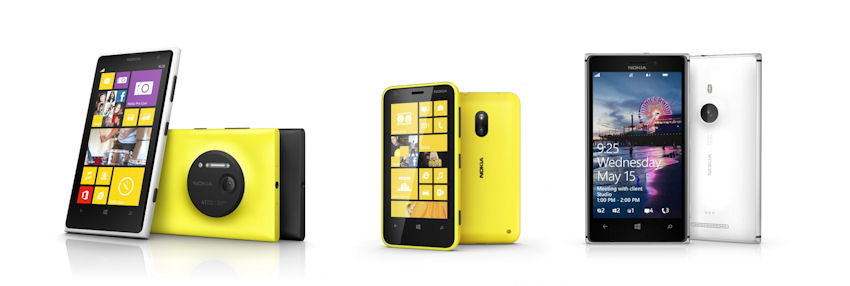 A range of Windows Phone 8 handsets