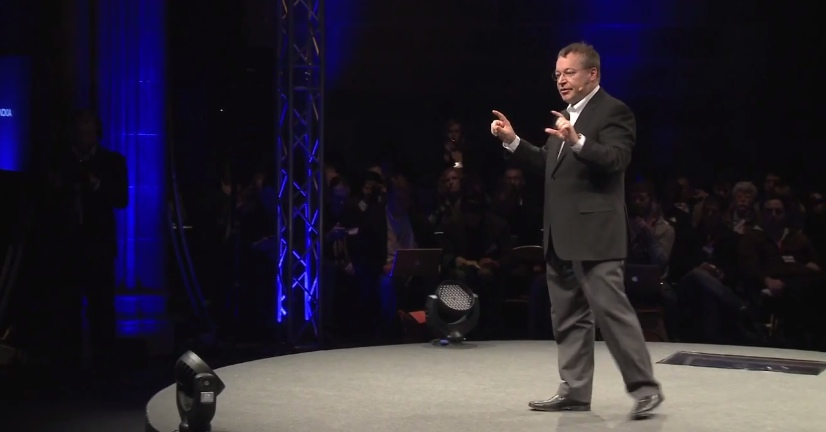 Elop on stage at an evening 'clarification' in 2011 trying to answer the blogosphere's questions