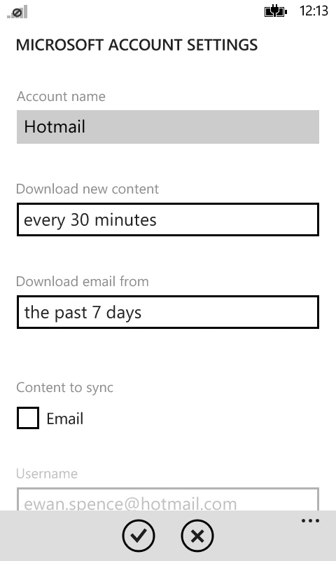WP8 social media settings