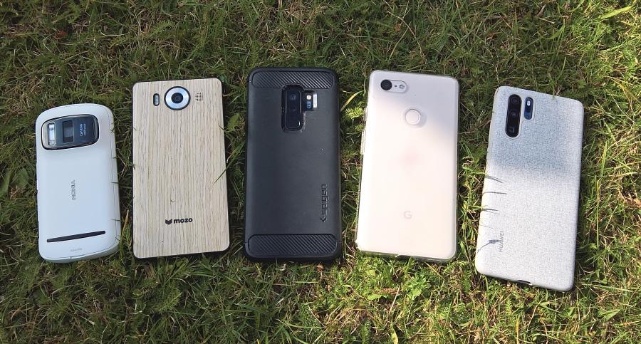 Nokia 808, Lumia 950, Galaxy S9+, Pixel 3 XL, Huawei P30 Pro