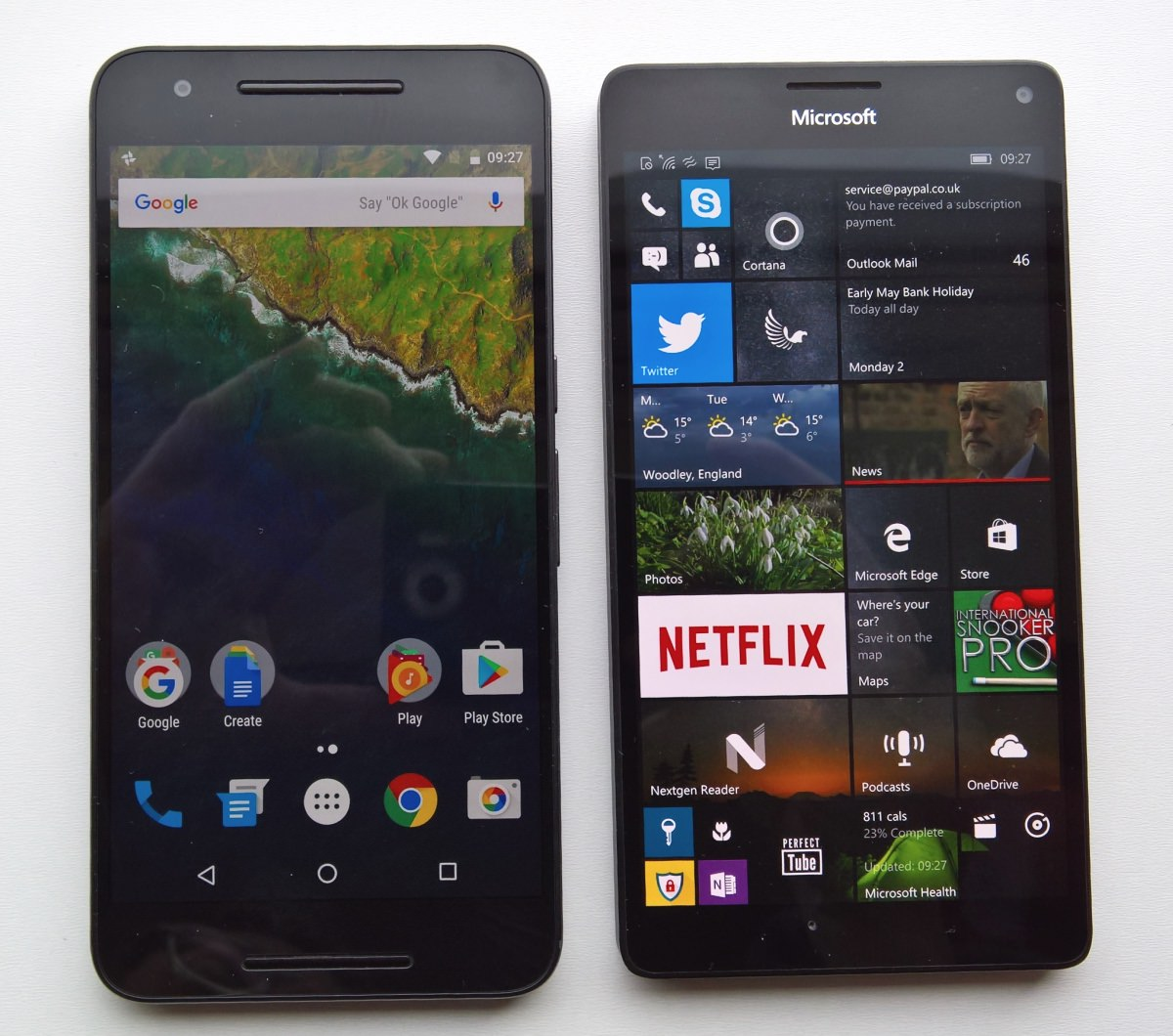 Lumia 950 XL and Google Nexus 6P