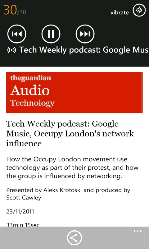 The Guardian on Windows Phone