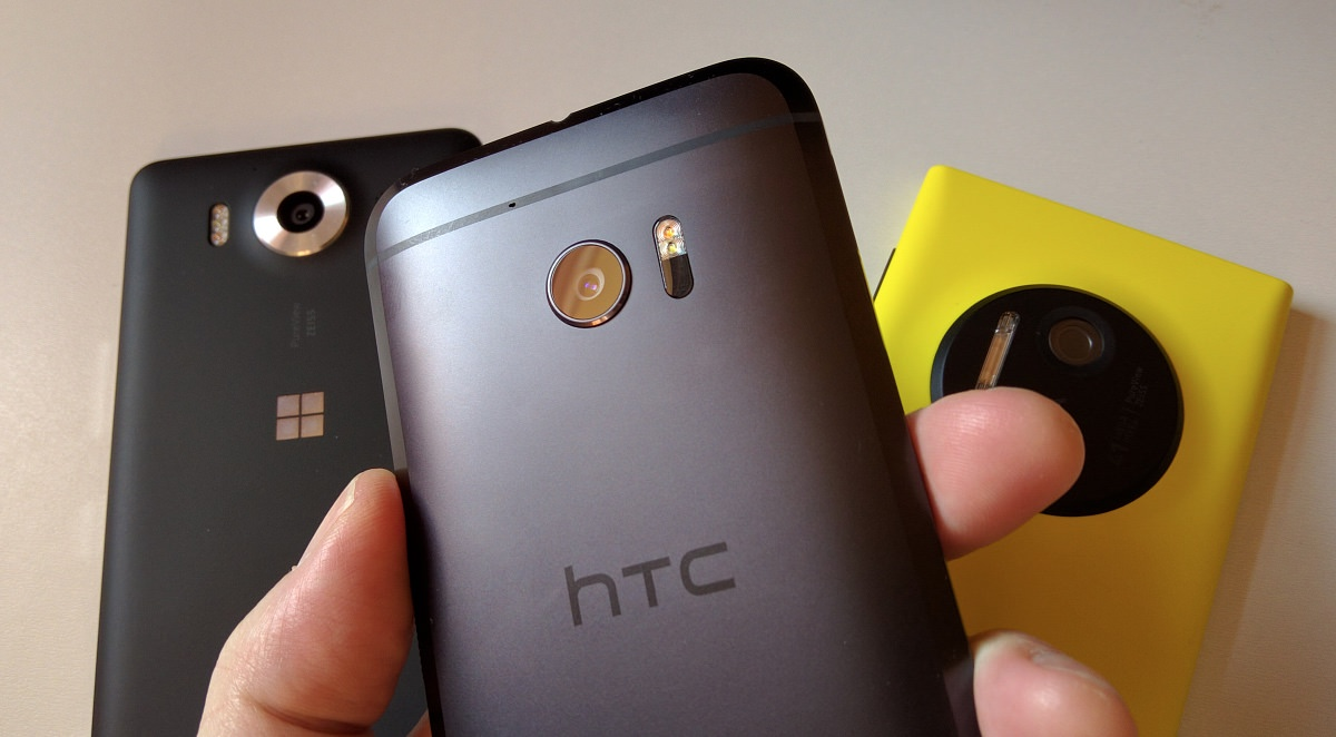 HTC 10 with Lumia 950 and 1020