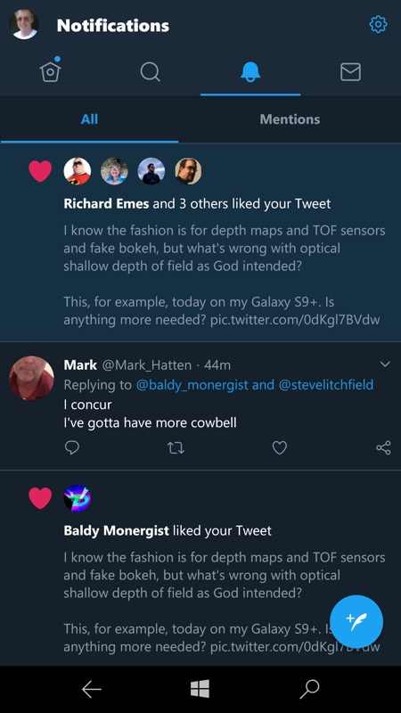 Twitter, as seen from Windows 10 Mobile in 2019!