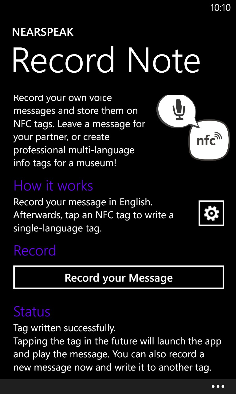 Screenshot, NFC Writer