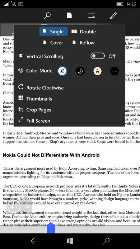 Screenshot, PDF reading on Windows 10 Mobile