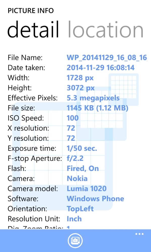 Screenshot, EXIF feature