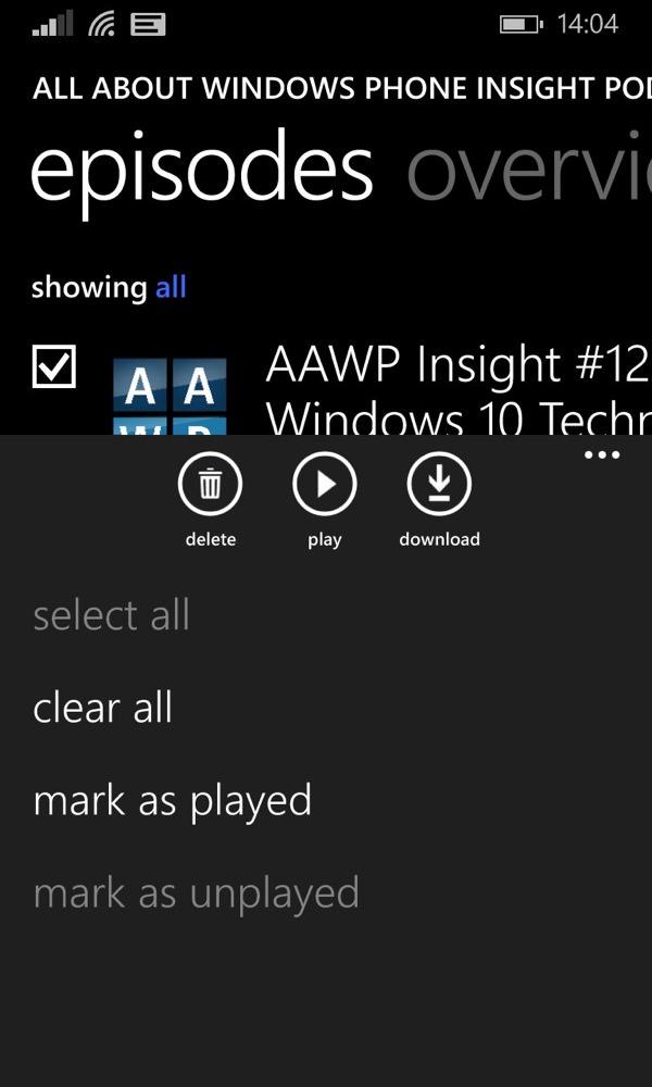 Screenshot, Podcasts
