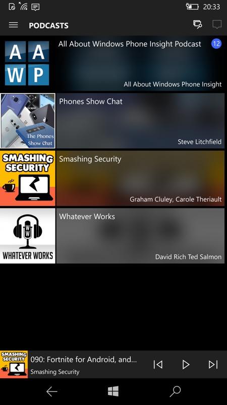 Screenshot, podcatchers