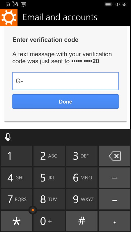 Screenshot, Setting up Windows 10 Mobile
