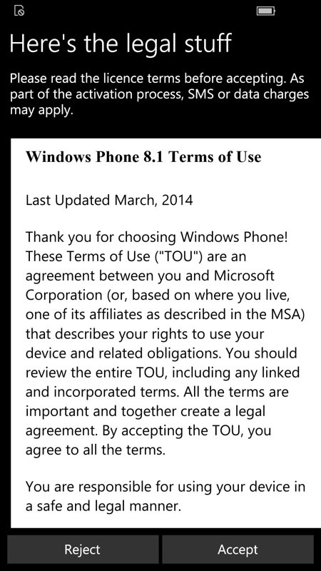 Screenshot, Setting up Windows 10 Mobile