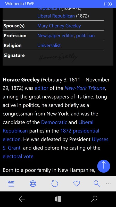 Screenshot, Wikipedia feature