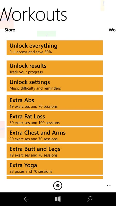 Screenshot, 5 Minute Home Workouts