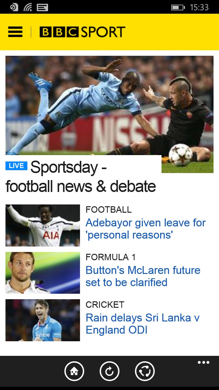 Screenshot, BBC Sport