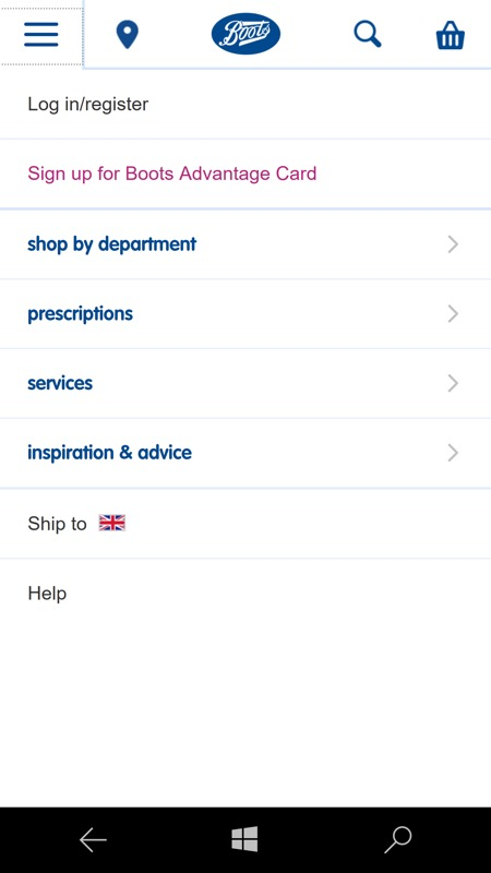 Screenshot, Boots UK
