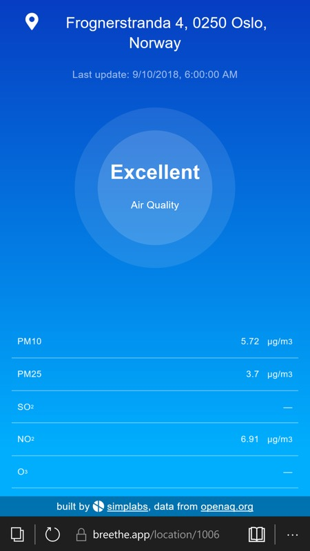 Breethe PWA delivers air quality data