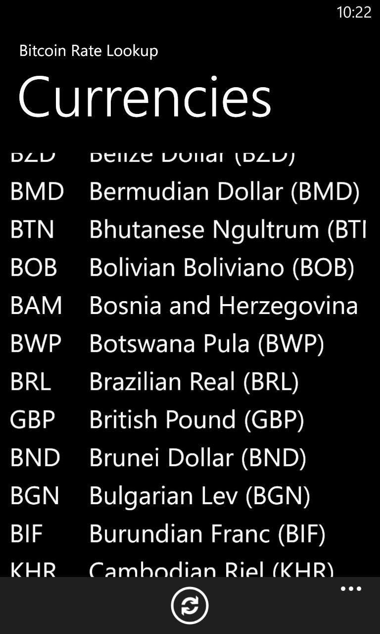 Bitcoin Rate Lookup screenshot